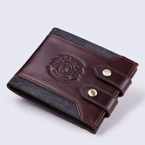Multi-function double buckle leather men's wallet