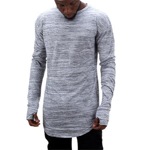 Pure Color Hollowed-Out Fashion Long-Sleeved T-Shirt