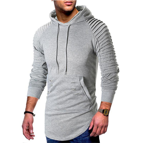 Shoulder pleats casual hooded hole men's hooded sweater