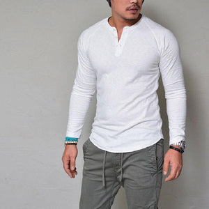 Round Neck Solid Color Button Long Sleeve Men's T-Shirt