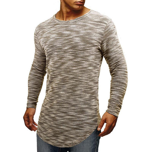 Men's round neck men's slim cotton long-sleeved T-shirt