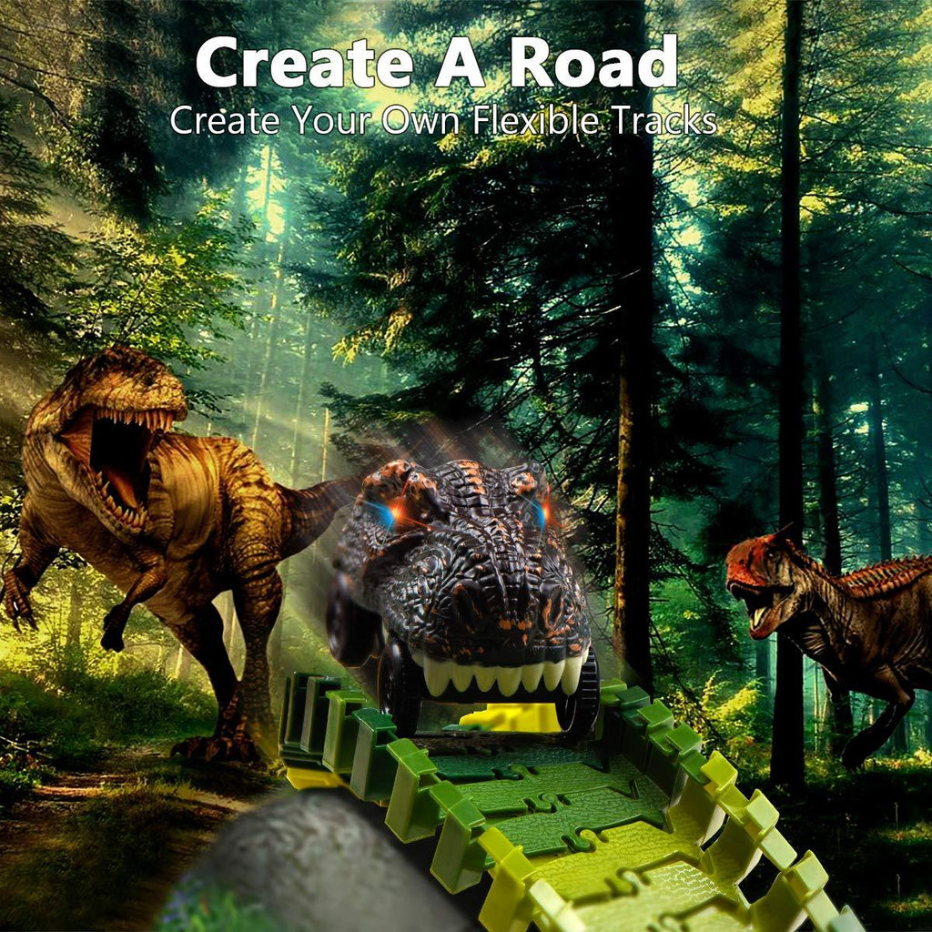 【Hot Sale Now】Create A Dinosaur World Road Race-Flexible Track Playset