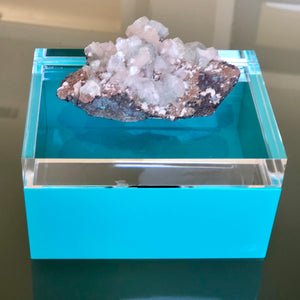 Turquoise Lucite & Geode Box