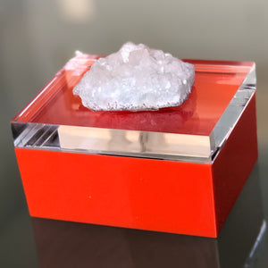 Orange Lucite Geode Box