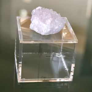 White Quartz Geode Lucite Box
