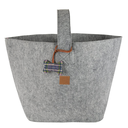 Large Grey Felt Dog Toy Basket