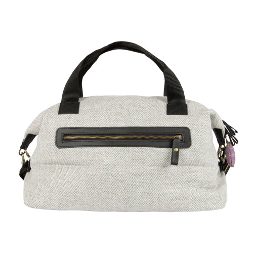 Tweed Weekender Bag With Bone Keyring