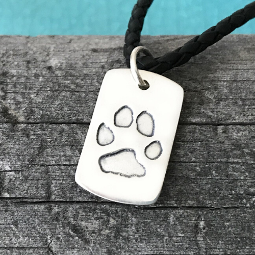 Personalised Paw Leather Necklace