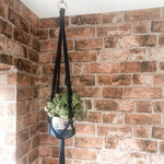 Handmade Navy Macrame Planter With Paw Pot