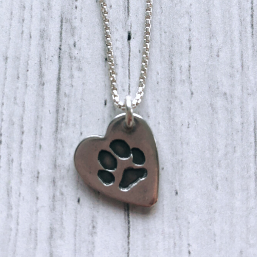 Olive & Berry Paw Silver Necklace