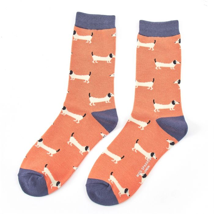 Orange Sausage Bamboo Socks
