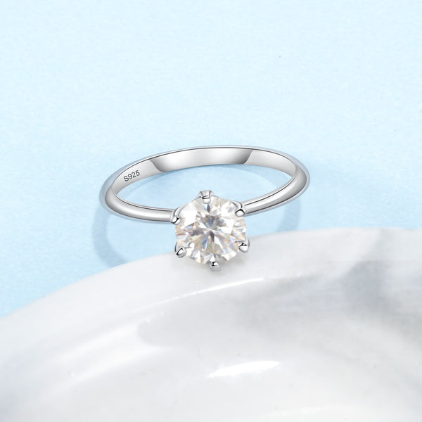 925 Classic Sterling Silver Moissanite Ring