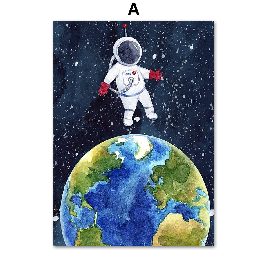 Space ,Planets and Rockets Canvas Art