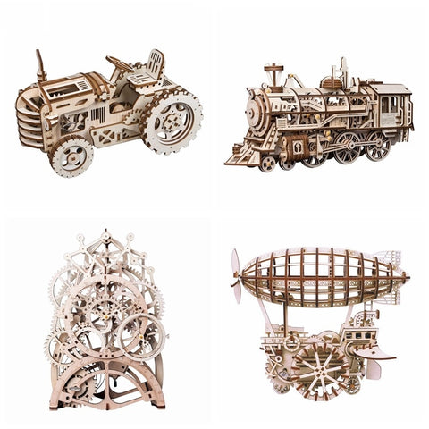 4 Kinds 3D Mechanical Wooden Model Building