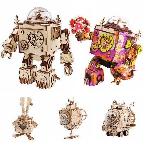 5 Kinds Rotatable Wooden 3D Steampunk Model Building