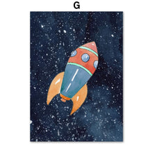 Load image into Gallery viewer, Space ,Planets and Rockets Canvas Art