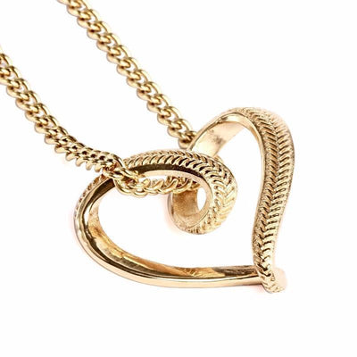 Golden Softball Stitched Infinity Heart Pendant and Chain