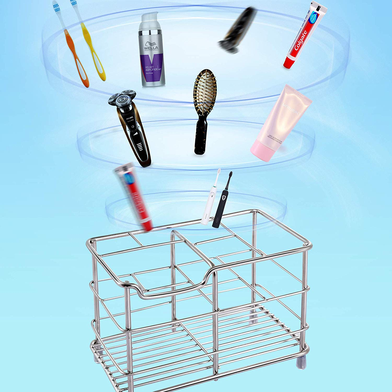 Stainless Steel Bathroom Storage Organizer Stand Rack -