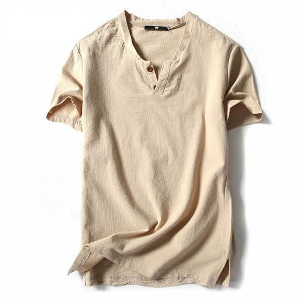 V-neck linen t-shirt. For men of literature and art, short sleeves, light cotton and hemp