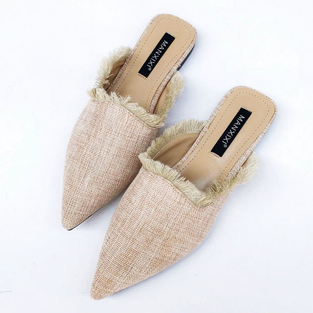 Slippers, hemp weave, pointed toe, classy!