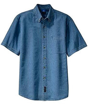Load image into Gallery viewer, Men's Denim Short Sleeve Shirt
