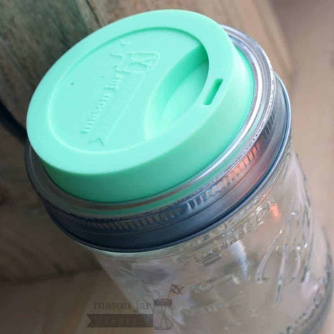 Silicone Drinking Lid With Band For Mason Jars