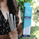 Long-Lasting Biodegradable Paper Straws, 50-Count, Chevron