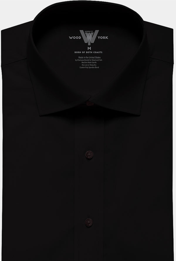 All Black Performance Dress Shirt with Tri-Collar Technology