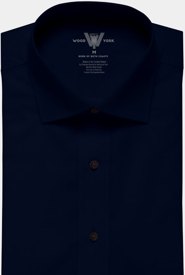 Navy Performance Dress Shirt with Tri-collar technology