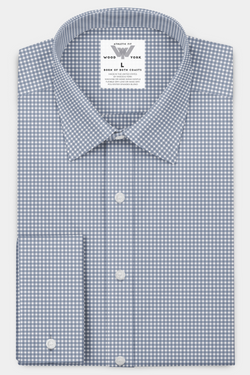 Faded Blue Gingham Performance Dress Shirt With Five Day Extended Wear Protection - Wood and York