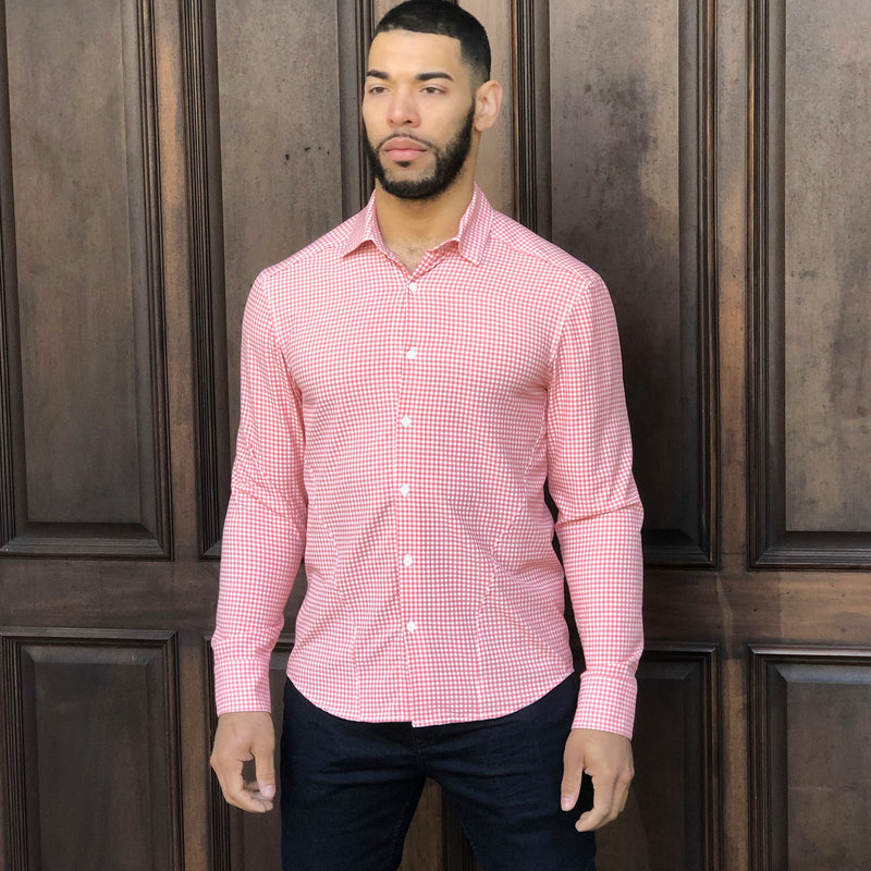 Faded Rose Gingham Performance Dress Shirt With Five Day Extended Wear Protection - Wood and York