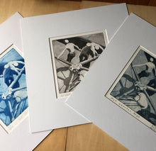 Load image into Gallery viewer, Chose your colour ink: from left to right the versions are prussian blue, black, dark indigo. Each time the plate is inked the end result is slightly different. These are the actual products for sale.