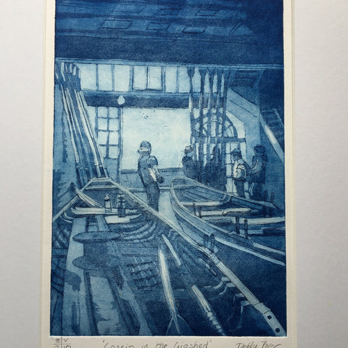 Limited edition print from a copper etching with aquatint. Artist is working skipper and gig rower Debbie Purser. One of 10 prints in Black or Prussian Blue ink on thick Fabiano art paper. Every print is unique as it comes off the press, depending on how the ink is applied to the plate. Roseland Gig Club members in St Mawes meet in an old building on the sea front. When the weather is grim we sneak inside this characterful building that was bequeathed to  the club by artist Brenda Pye. Brenda created some b