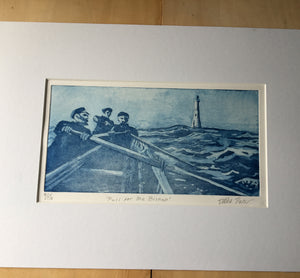 Print from a copper etching by Debbie Purser. each print is unique having been inked by hand. The subject is a gig boat crew rowing hard towards the Bishop lighthouse in big seas.....possibly to rescue sailors from a shipwreck off the treacherous Western reefs of Scilly Isles.