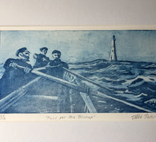 Load image into Gallery viewer, Print from a copper etching by Debbie Purser. each print is unique having been inked by hand. The subject is a gig boat crew rowing hard towards the Bishop lighthouse in big seas.....possibly to rescue sailors from a shipwreck off the treacherous Western reefs of Scilly Isles.