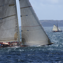 Load image into Gallery viewer, 1933 J class yacht Velsheda with modern racing sails and 1893 pilot cutter Marguerite sailing off Falmouth, UK.  A set of quality photographic greetings cards for the sailor in your life. A nautical greetings card for anyone who loves to sail on classic boats or artists and boat lovers that just appreciate the sheer power and glory of big yachts racing.