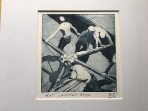 Copper etching print - 'Hot Capstan Boys' by Debbie Purser