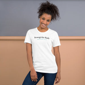 Unisex Cotton T-shirt with nautical slogan 'Bowsprits Rule'
