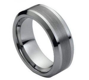 Tungsten 8mm Brushed Center/Polished Accents With Beveled Edges