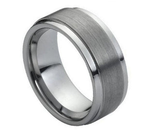 Tungsten 9mm Flat Brushed Center with Polished Stepped Edges