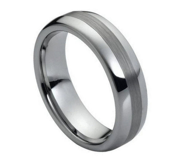 Tungsten 6mm Polished Dome with Brushed Center