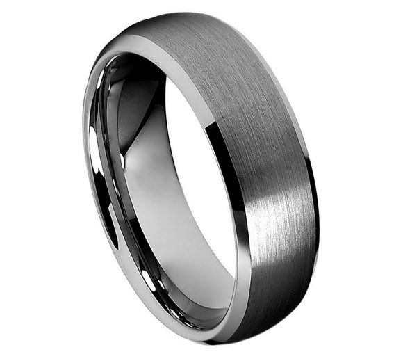 Tungsten 8mm Brushed Center with Low Beveled Edges