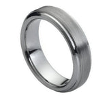 Tungsten 6mm Flat Brushed Center with Stepped Edge
