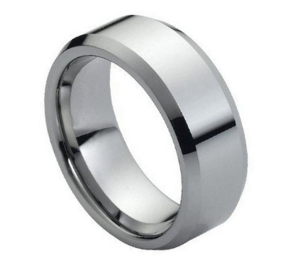 Tungsten 8mm High Polish with Beveled Edges