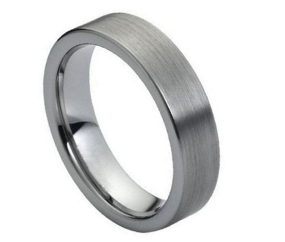 Tungsten 6mm Brushed Flat Band