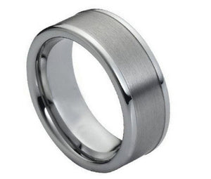 Tungsten 8mm Brushed Center with High Polished Raised Edges