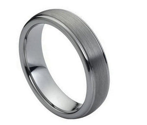 Tungsten 6mm Domed Brushed Center with Polished Ridge Edges