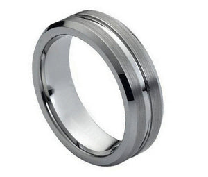 Tungsten 7mm Brushed Face with Polished Grooved Center and Beveled Edges