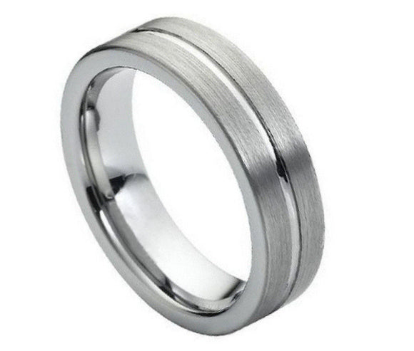 6mm Tungsten Flat Cut High Polished Grooved Center Brushed Sides