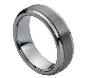 7mm Tungsten Brushed Center and Stepped Beveled Edges